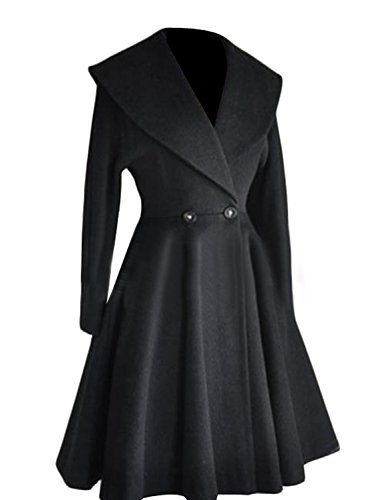 Long Black Swing Coat - 6