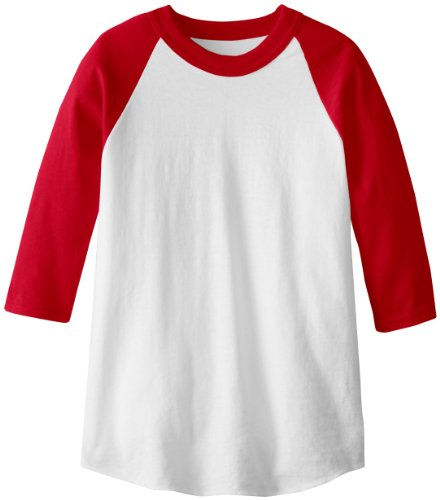 Soffe MJ Kid's 3/4 Sleeve Baseball Jersey, Large, Red ()