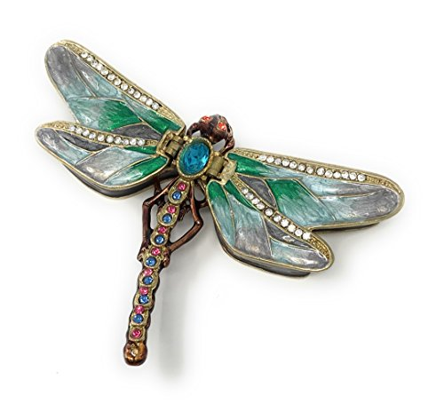 Kubla Crafts Enameled Green Dragonfly Trinket Box, Accented with Austrian Crystals, 2 Compartments