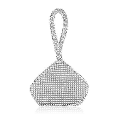 Radtengle Women's Evening Clutches Bag Beaded Rhinestones Triangle Purse Handbag