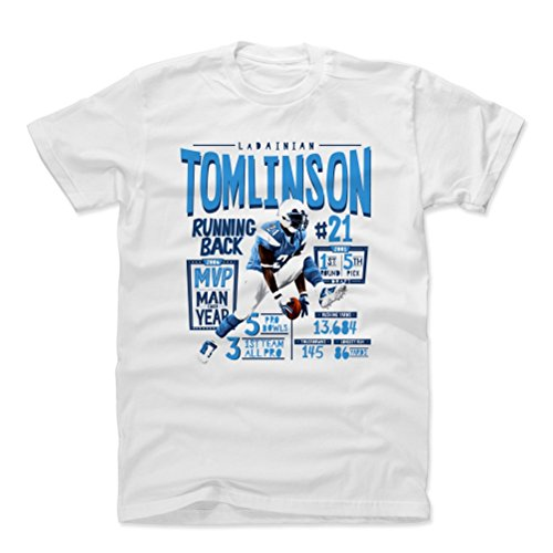 (500 LEVEL LaDainian Tomlinson Cotton Shirt (Medium, White) - San Diego Chargers Men's Apparel - LaDainian Tomlinson Position L)