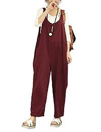 Women's Casual Loose Long Wid Pants Hemp Overalla Jumpsuits Romper