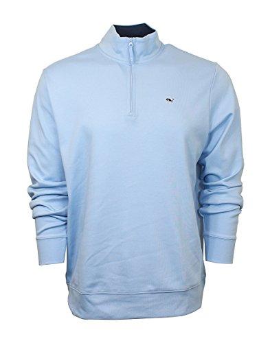 Vineyard Vines Mens Jersey 1/4 Zip Sweatshirt Solid Jake Blue Jacket (Men Vineyard Vest Vines)