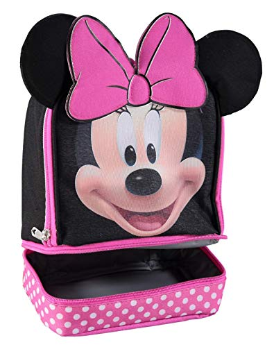 Minnie Mouse Lunch Box - Disney MN29130-SC-BK00 Minnie Mouse Dual Compartment Ears Insulated Lunch Kit, One Size, Black