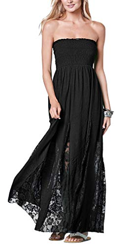 Jusfitsu Women's Tube Top Strapless Floral Lace Evening Party Dress Cotton Long Maxi Dresses Black (Gown Stretch Lace Top)