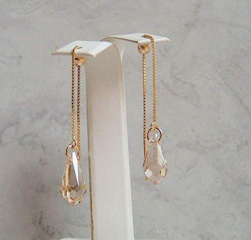 Champagne Beige Pencil Briolette Crystal Gold Fill Ear Thread Earrings Made With Swarovski Gift Idea