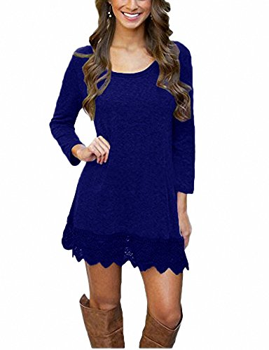 (Afibi Women's Long Sleeve A-Line Lace Stitching Trim Casual Dress (Large, Blue))