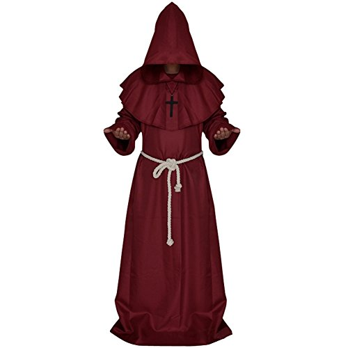 JudyBridal Medieval Monk Cloak Halloween Priest Robe Hooded Cosplay Wizard Costumes with Belt Cross Necklace M Red - Red Hood Cosplay Costume For Sale