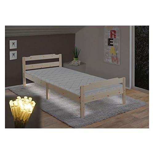 Einzelbett kinder  Bett 90 x 200 cm natur Kiefer massiv Jugendbett Lattenrost ...