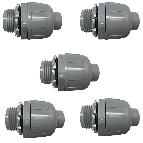 "Pro Line Series 5 Pack - 1.5"" Non-Metallic Electrical Liquid Tight Conduit Straight Fittings - 5105112050-5"