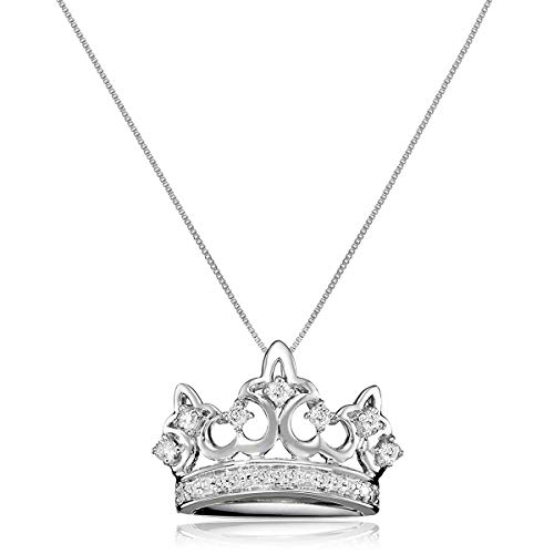 1/4 ct Diamond Crown Pendant Necklace in 10K White Gold