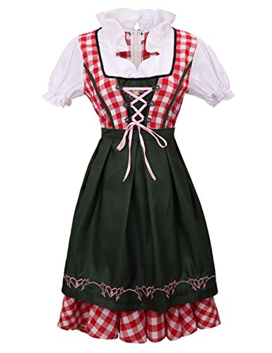 Colorful House Womens Oktoberfest Beer Maid Fancy Dress Costume (Size L, Red) - Beer Wench Outfit