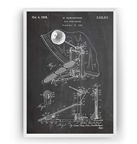 Bass Drum Beater 1938 - Patent Print Drummer Póster Con Diseños ...