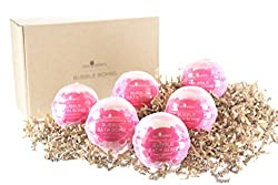 Pink Champagne Bubble Bath Bombs Gift Set by Two Sisters Spa. 6 Large 99% Natural Fizzies For Women, Teens and Kids. Moisturizes Dry Sensitive Skin. Releases Lush Color, Scent, and Bubbles.