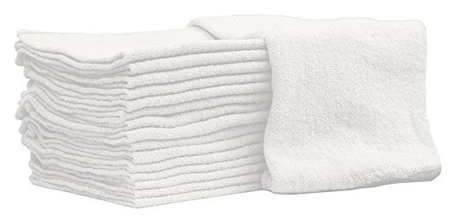 Auto-Mechanic Shop towels, Rags by Nabob Wipers 100% Cotton Commercial Grade Perfect for your Home Garage & Auto Body Shop (14x14) inches, 25 Pack, (White) Paint Rags