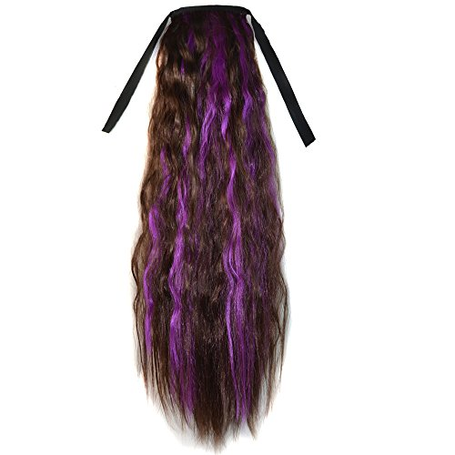 Abwin Mixed Color Bundled Corn Hot Roll Ponytail / Dark Brown and Violet (Corn Roll Hairstyle)