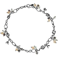 PAZ Creations .925 Sterling Silver Gemstone Charm Anklet