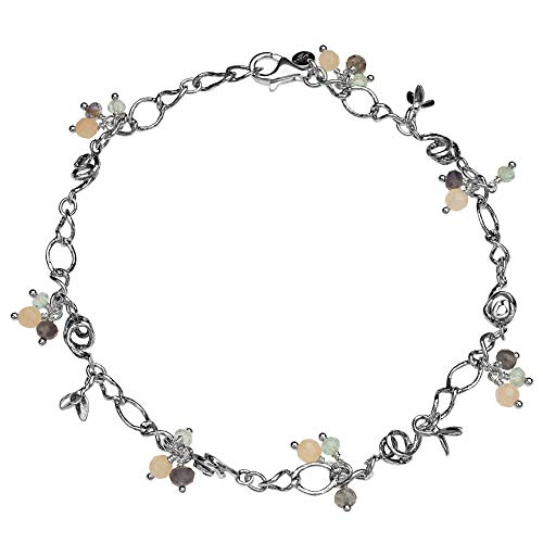 PAZ Creations .925 Sterling Silver Gemstone Charm Anklet (10)