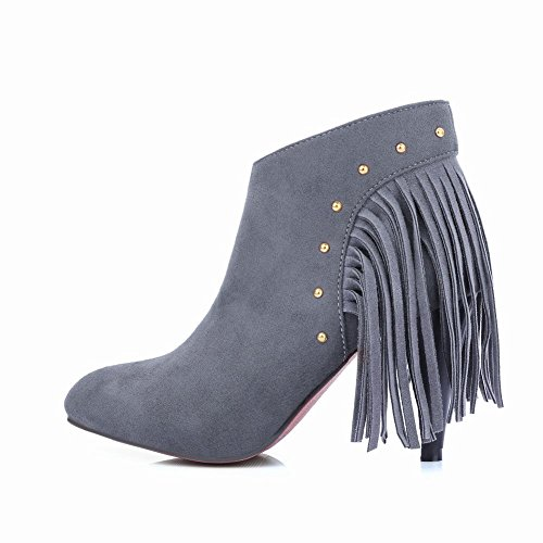 Tassel Dress Gray Ankle High Boots Heels Womens Studded Latasa EnxwpOqSPR
