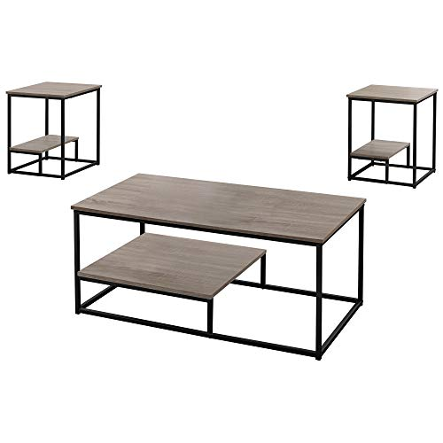 (Monarch Specialties I 7960P Table Set One Size Dark Taupe)