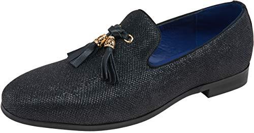(JOUSEN Men's Loafers Velvet Smoking Slipper Metallic Sparkling Glitter Tassel Slip On Men Tuxedo Dress Shoes (Glitter Tassel,12))