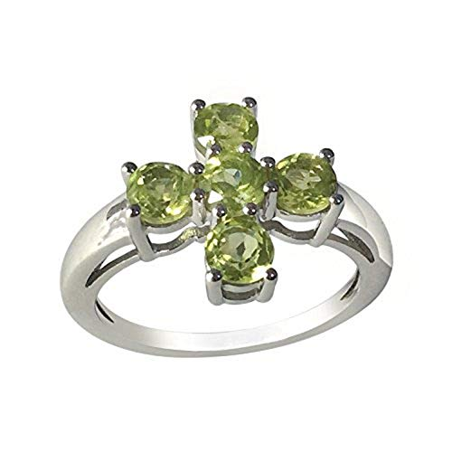 - Sterling Silver 1.50cttw Peridot Five Stone Ring