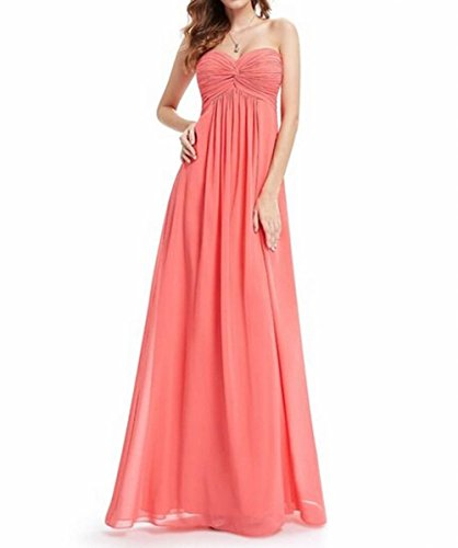Kleid Damen Ausschnitt Runder Party Korallenrot Rosa der Gerüscht Schönheit Lang Brustumfang Leader HqzF4Ywn