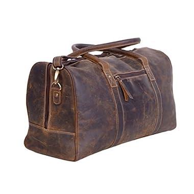 KomalC Genuine Leather Duffel | Travel Overnight Weekend Leather Bag | Sports Gym Duffel for Men