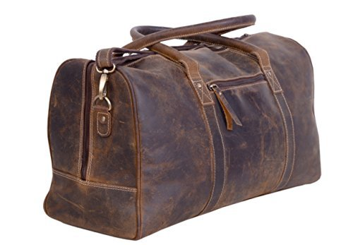 KomalC Leather Travel Duffel Bags for Men and Women Full Grain Leather Overnight Weekend Leather Bags Sports Gym Duffle.