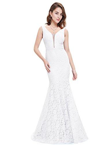 Lang Abendkleider Cocktailkleid Ausschnitt V Damen 08838 Pretty Weiß Ever 6Swq4EnFw