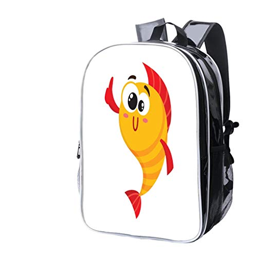 (High-end custom Laptop Backpack-Leisure Travel Backpack Cute, funny golden, yellow fish character with human face giving thumb up Water Resistant-Anti Theft - Durable -Ultralight- Classic-School-Black)
