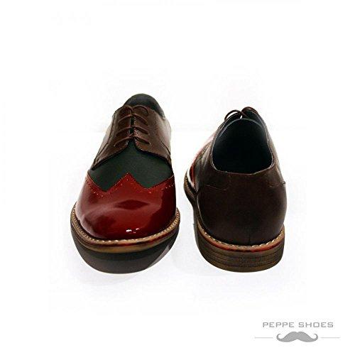 Modello Parma - Cuero Italiano Hecho A Mano Hombre Piel Vistoso Wing Tip Zapatos Oxfords - Cuero Cuero suave - Encaje