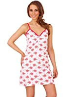 Short chemise in antique rose print with pink trim and diamante button detail