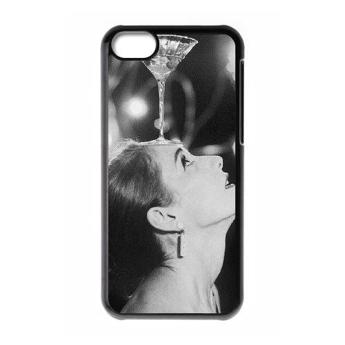 Audrey Hepburn coque iPhone 5C Housse téléphone Noir de couverture de cas coque EBDOBCKCO13285