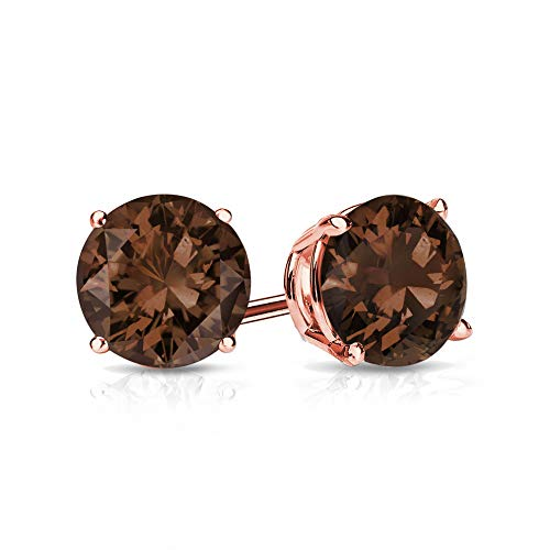 9mm Smokey Quartz Stud Earrings in 14k Rose Gold (3.7 CT.TW.)