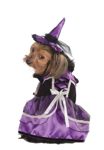 Rubie's Pet Costume, Small, Purple Witch Dress and Hat