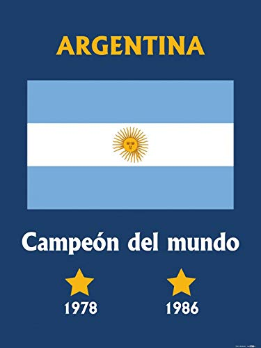 Posters: Football Poster Art Print - World Champion Argentina Campeón Del Mundo 1978 1986 (32 x 24 - Cup Argentina World 1986