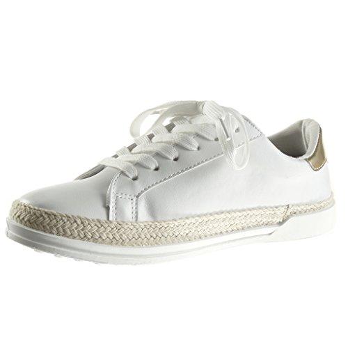 Angkorly - Scarpe da Moda Sneaker Tennis low donna stella paillette lucide Tacco tacco piatto 1.5 CM - Oro