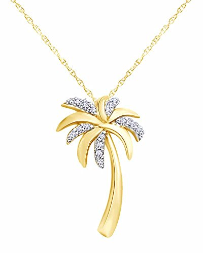 Sale Round Cut Diamond Accent Palm Tree Pendant in 10K Solid Gold ()
