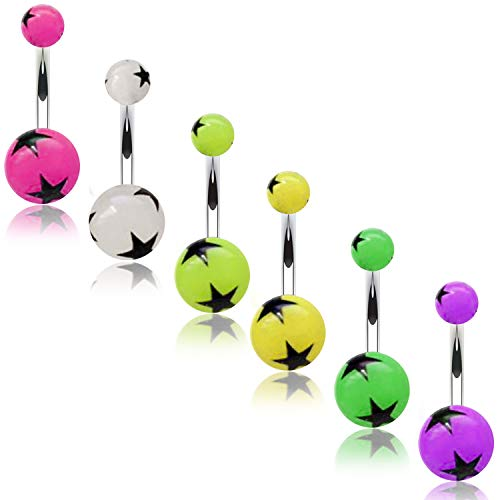 BodyJ4You 6PC Belly Button Rings Navel Glow Dark Stars 14G Steel Banana Bar Girl Women Jewelry