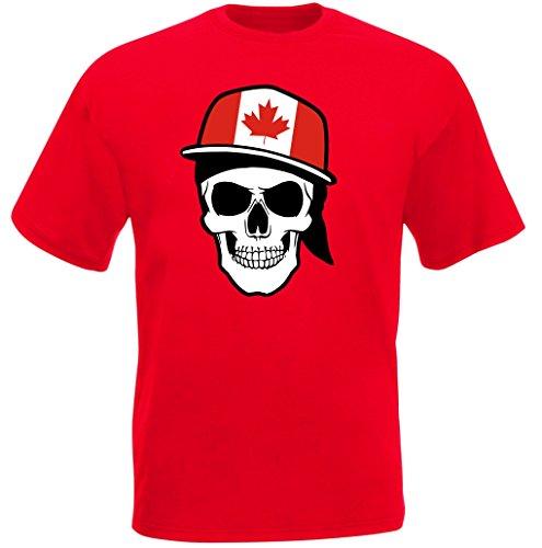 Kanada - T-Shirt - Skullz Fahne - Totenkopf - rot
