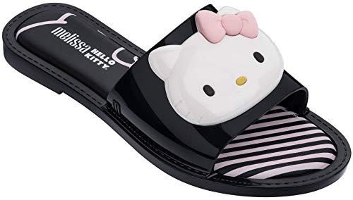 Melissa Womens Slipper + Hello Kitty, Black White, Size 8