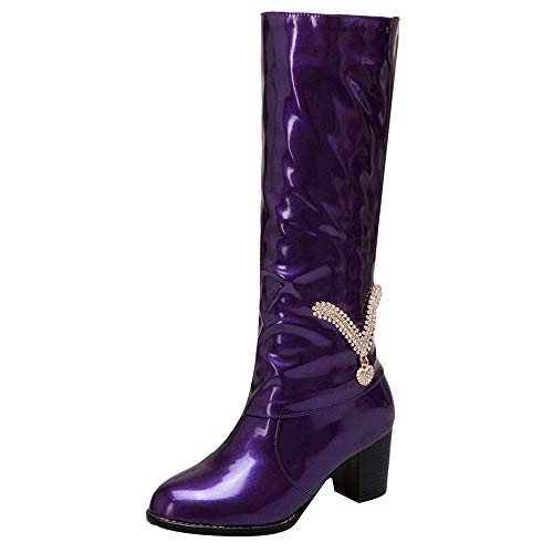 (Limsea Women Middle Tube Boots Winter Rhinestone Solid High Heel Patent Leather Rubber Slip-On (6.5, Purple) )