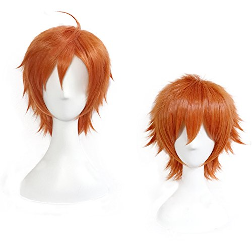 magic acgn   Short Cosplay Wig orange Game Hair Unisex Halloween Wig