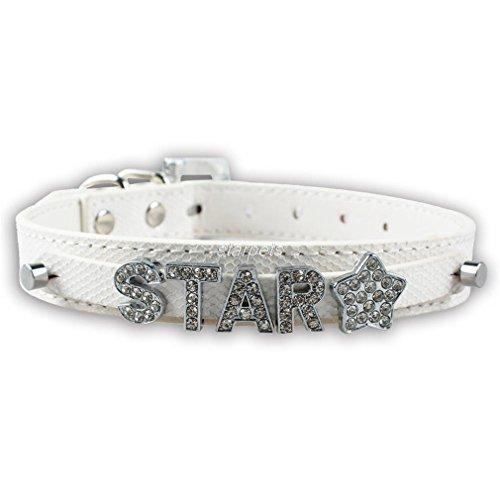 LOVELY Personalized Pet Dog Collar Rhinestone Customized Free Name Diamond White S