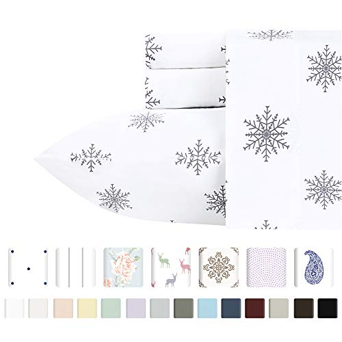 400 TC 100% Cotton Sheet Snowflakes Grey Full Size Printed Sheet Set, 4 Pc Long-staple Combed Cotton Bedding Sheets For Bed, Breathable, Soft Sateen Weave Fits Mattress Upto 18'' Deep Pocket