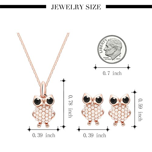 KingField Fashion Jewelry Inlay Pearl Drill Lovely Owl Necklace Earrings Two (Quartz Long Drill)