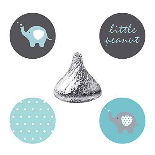 MAGJUCHE Blue and Grey Elephant Candy Stickers, Little Peanut boy Baby Shower or Birthday Party Favor Labels, Fit Hershey's Kisses, 304 Count ()