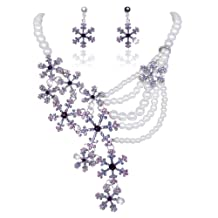 Ever Faith Silver-Tone Snowflake Simulated Pearl Austrian Crystal Necklace Earrings Set