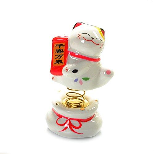 Tgfer New 3.5' Ceramic Maneki Neko Lucky Cat Car Interior Dashboard decoration Spring Cat Style Visitors